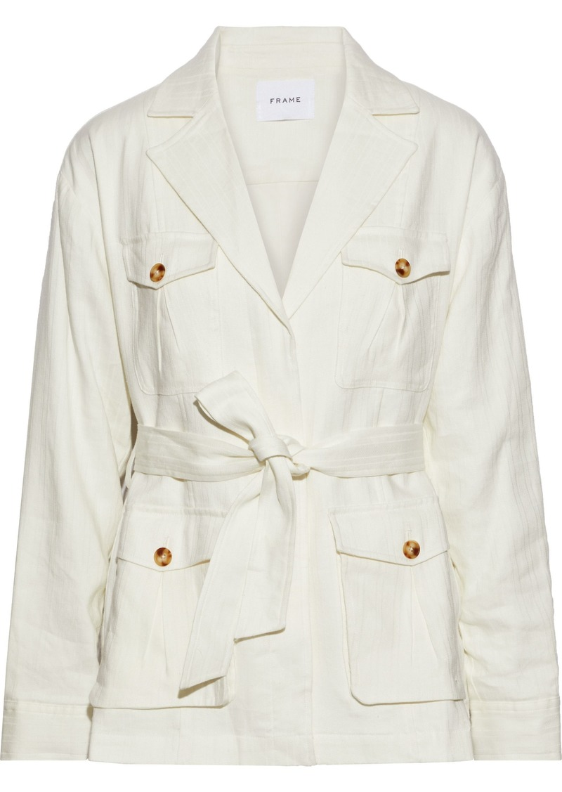 Frame Woman Cargo Belted Linen-blend Twill Jacket Off-white