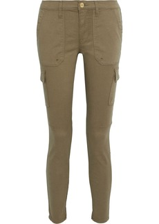 Frame Woman Cargo Skinny Cropped Cotton-blend Twill Skinny Pants Sage Green