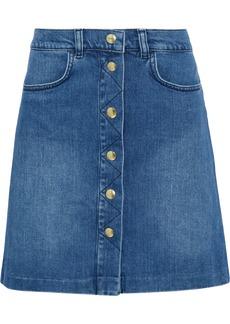 Frame Woman Claire Faded Denim Skirt Mid Denim
