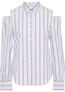 Frame Woman Cold-shoulder Striped Cotton-poplin Shirt Sky Blue