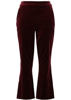 Frame Woman Cotton-blend Velvet Kick-flare Pants Plum