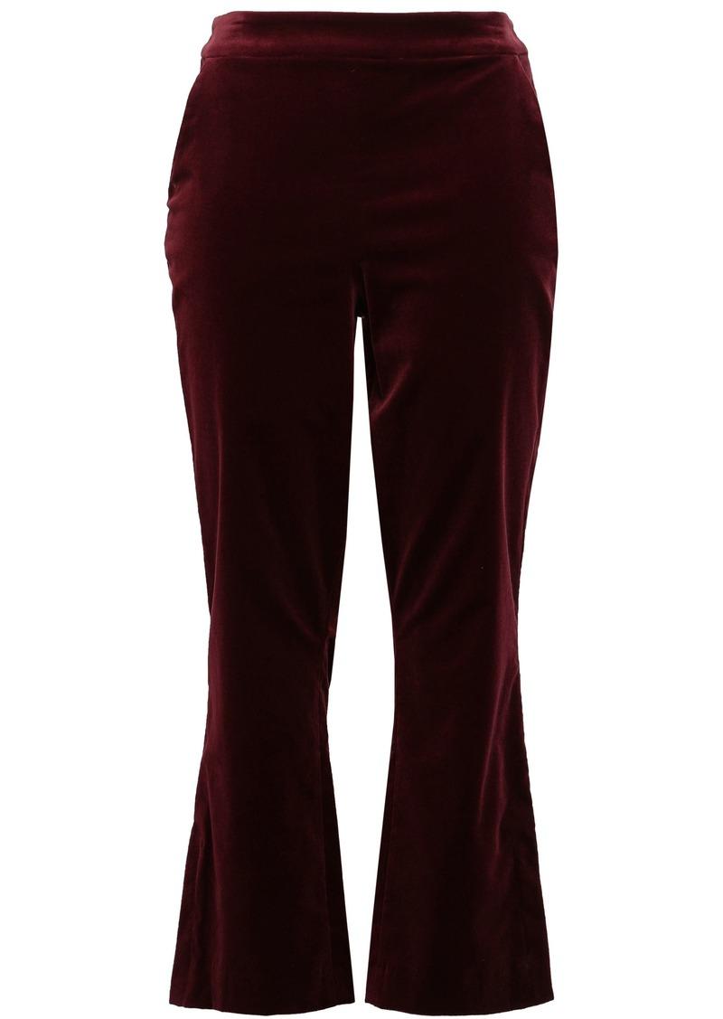 Frame Woman Cotton-blend Velvet Kick-flare Pants Plum