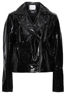 Frame Woman Crinkled Patent-leather Biker Jacket Black