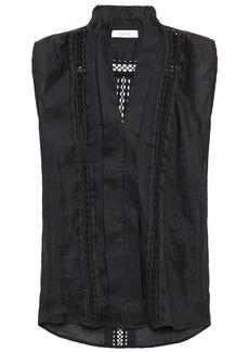 Frame Woman Crochet-trimmed Ramie-gauze Top Black