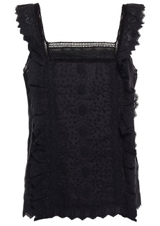 Frame Woman Crochet-trimmed Ruffled Broderie Anglaise Ramie Top Black