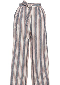 Frame Woman Cropped Belted Striped Linen Wide-leg Pants Pink
