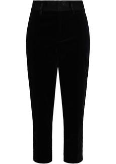 Frame Woman Cropped Cotton-blend Velvet Tapered Pants Black