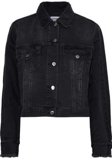 Frame Woman Cropped Denim Jacket Black