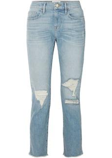 Frame Woman Cropped Faded Boyfriend Jeans Mid Denim