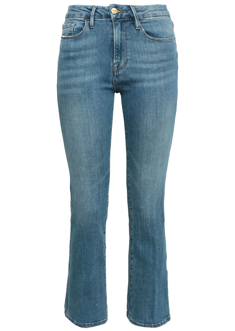 Frame Woman Cropped Faded High-rise Bootcut Jeans Light Denim
