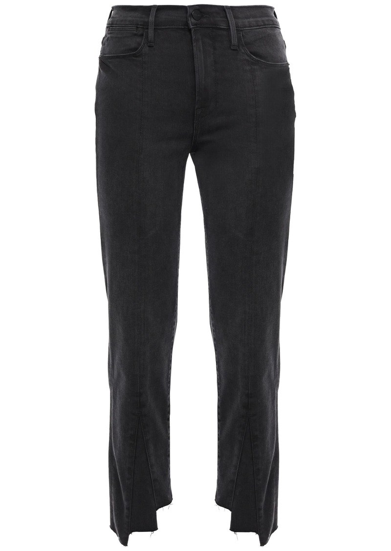 Frame Woman Cropped Frayed High-rise Slim-leg Pants Black
