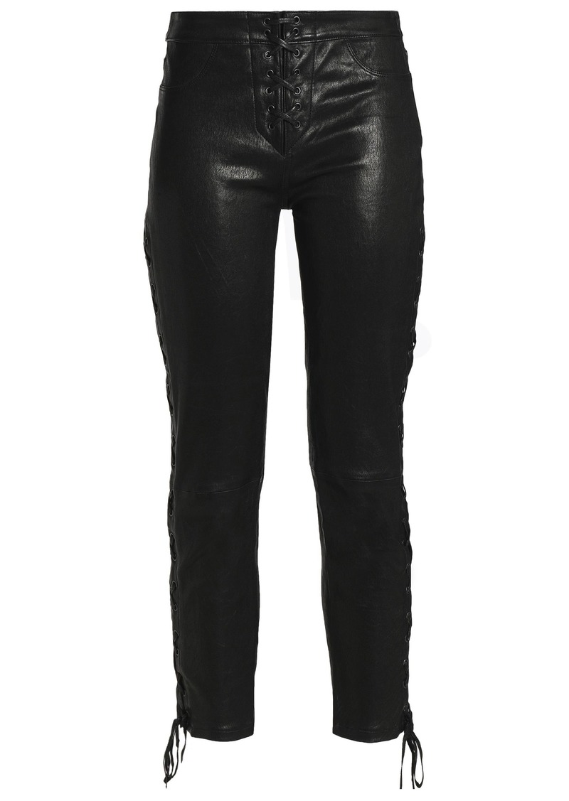 Frame Woman Cropped Lace-up Leather Skinny Pants Black