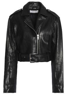 Frame Woman Cropped Leather Biker Jacket Black