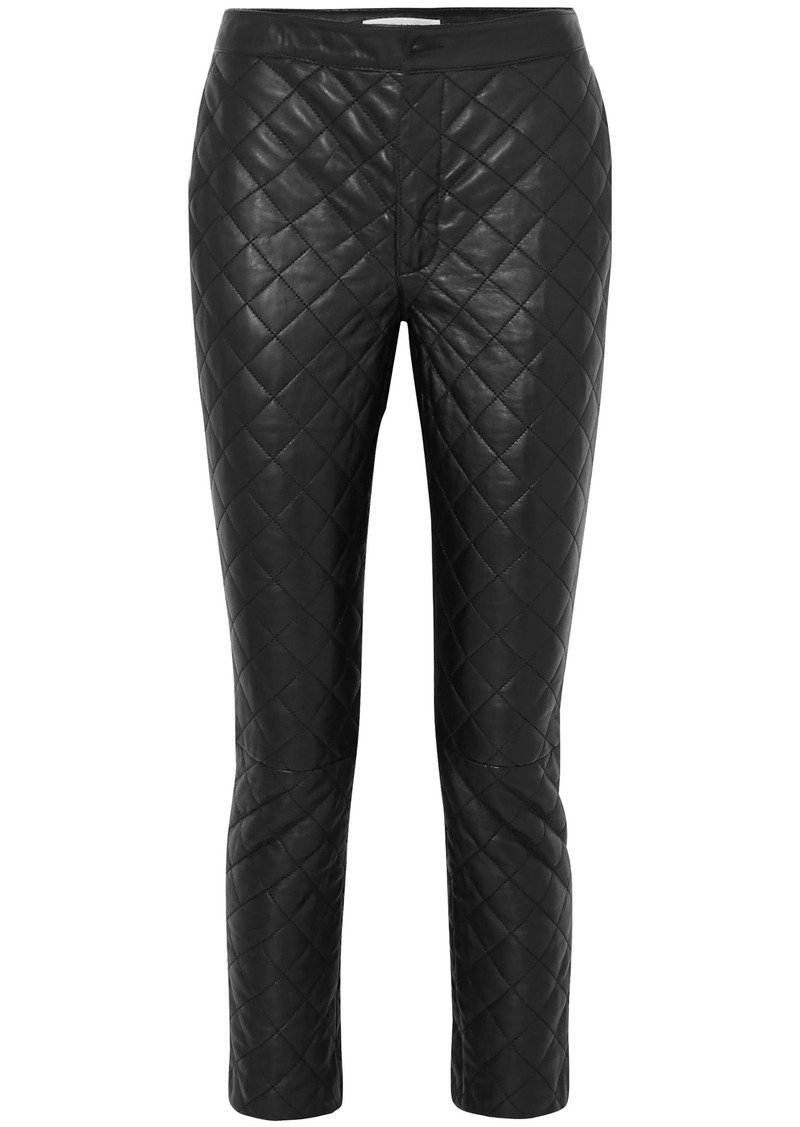 Frame Woman Cropped Quilted Leather Straight-leg Pants Black