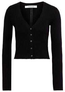 Frame Woman Cropped Ribbed Silk And Cotton-blend Cardigan Black