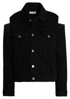Frame Woman Cutout Denim Jacket Black