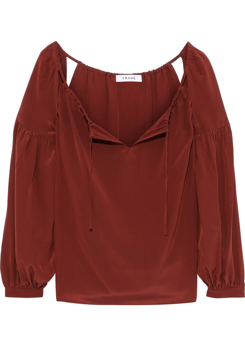 Frame Woman Cutout Gathered Washed-silk Blouse Brick