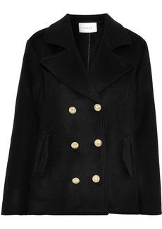 Frame Woman Double-breasted Wool-felt Coat Black