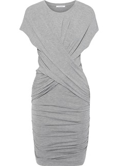 Frame Woman Draped Ruched Stretch-jersey Mini Dress Gray