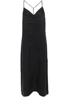 Frame Woman Embroidered Washed Cupro-blend Midi Slip Dress Black