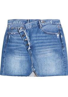Frame Woman Exposed Overlap Distressed Denim Mini Skirt Mid Denim