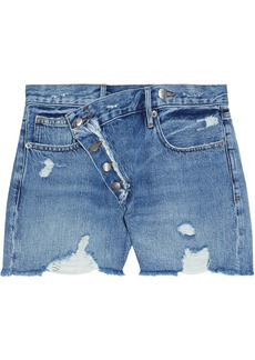 Frame Woman Exposed Overlap Distressed Denim Shorts Mid Denim