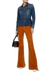 Frame Woman Faded Denim Peplum Jacket Mid Denim