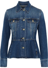 Frame Woman Faded Denim Peplum Jacket Mid Denim