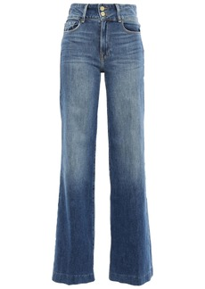 Frame Woman Faded High-rise Flared Jeans Mid Denim