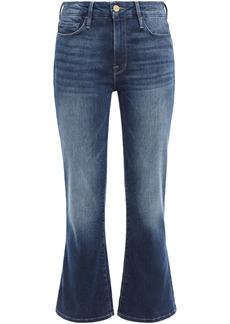 Frame Woman Faded High-rise Kick-flare Jeans Dark Denim