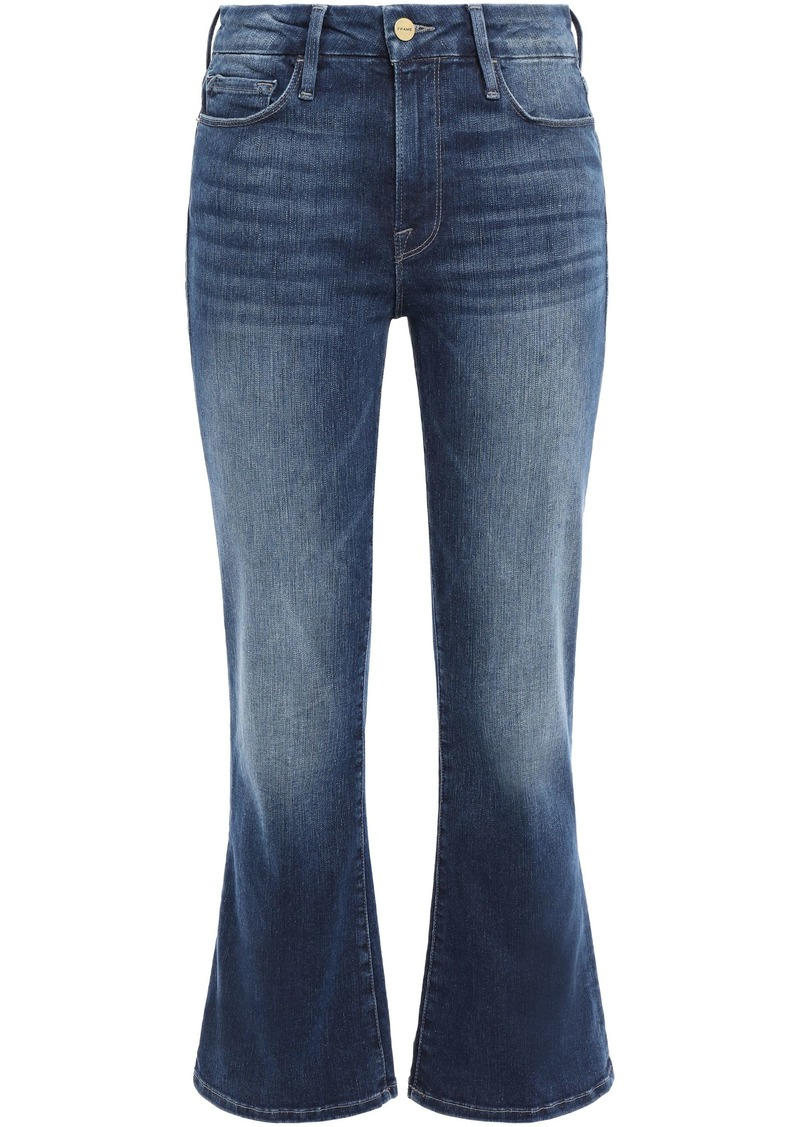 Frame Woman Faded High-rise Kick-flare Jeans Dark Denim