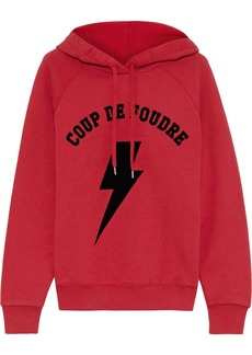 Frame Woman Flocked French Cotton-blend Terry Hoodie Red
