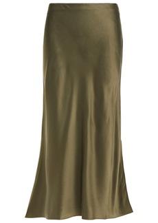 Frame Woman Fluted Silk-satin Midi Skirt Army Green
