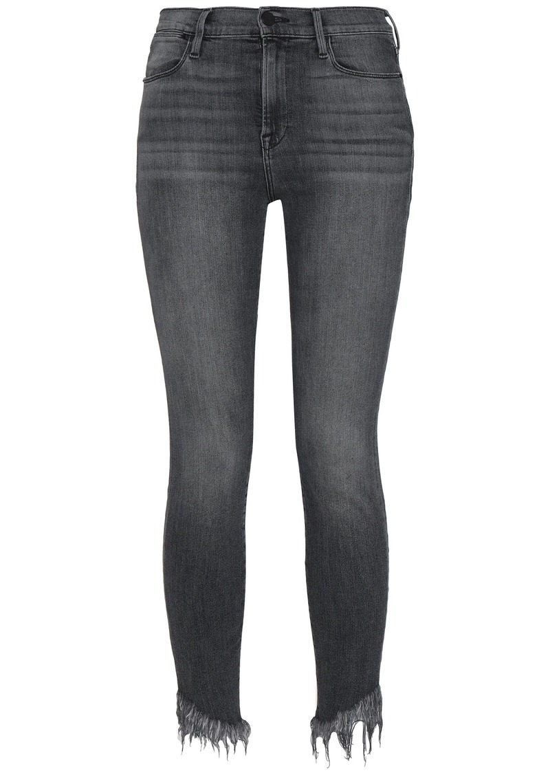Frame Woman Frayed Mid-rise Skinny Jeans Dark Gray