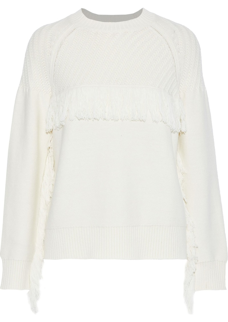 Frame Woman Fringe-trimmed Cotton-blend Sweater Off-white