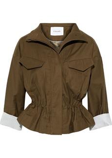 Frame Woman Cotton-blend Canvas Peplum Jacket Army Green