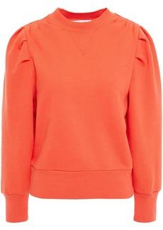 Frame Woman Gathered Cotton-blend Fleece Sweatshirt Orange