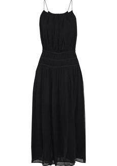 Frame Woman Gathered Gauze Maxi Dress Black