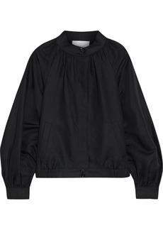 Frame Woman Gathered Linen-blend Bomber Jacket Black