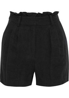 Frame Woman Gathered Linen-twill Shorts Black