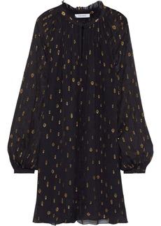 Frame Woman Gathered Metallic Fil Coupé Chiffon Mini Dress Black