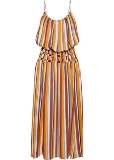 Frame Woman Gathered Striped Silk-georgette Midi Dress Orange