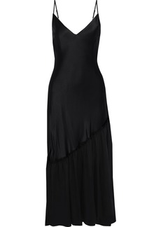 Frame Woman Gathered Voile-paneled Satin Maxi Slip Dress Black