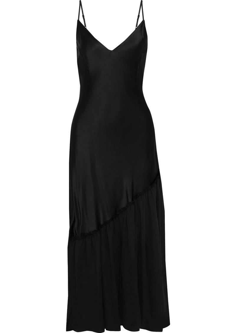 Frame Woman Gathered Voile-paneled Satin Maxi Slip Dress Black