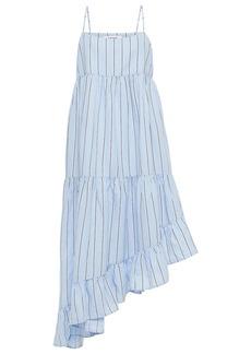 Frame Woman Gemma Asymmetric Striped Cotton And Hemp-blend Dress Light Blue