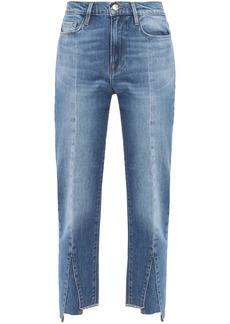 Frame Woman Le Nouveau Straight Cropped Paneled High-rise Straight-leg Jeans Mid Denim