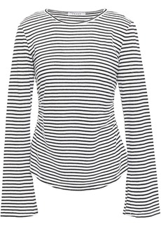Frame Woman Glittered Striped Linen And Cotton-blend Top Black