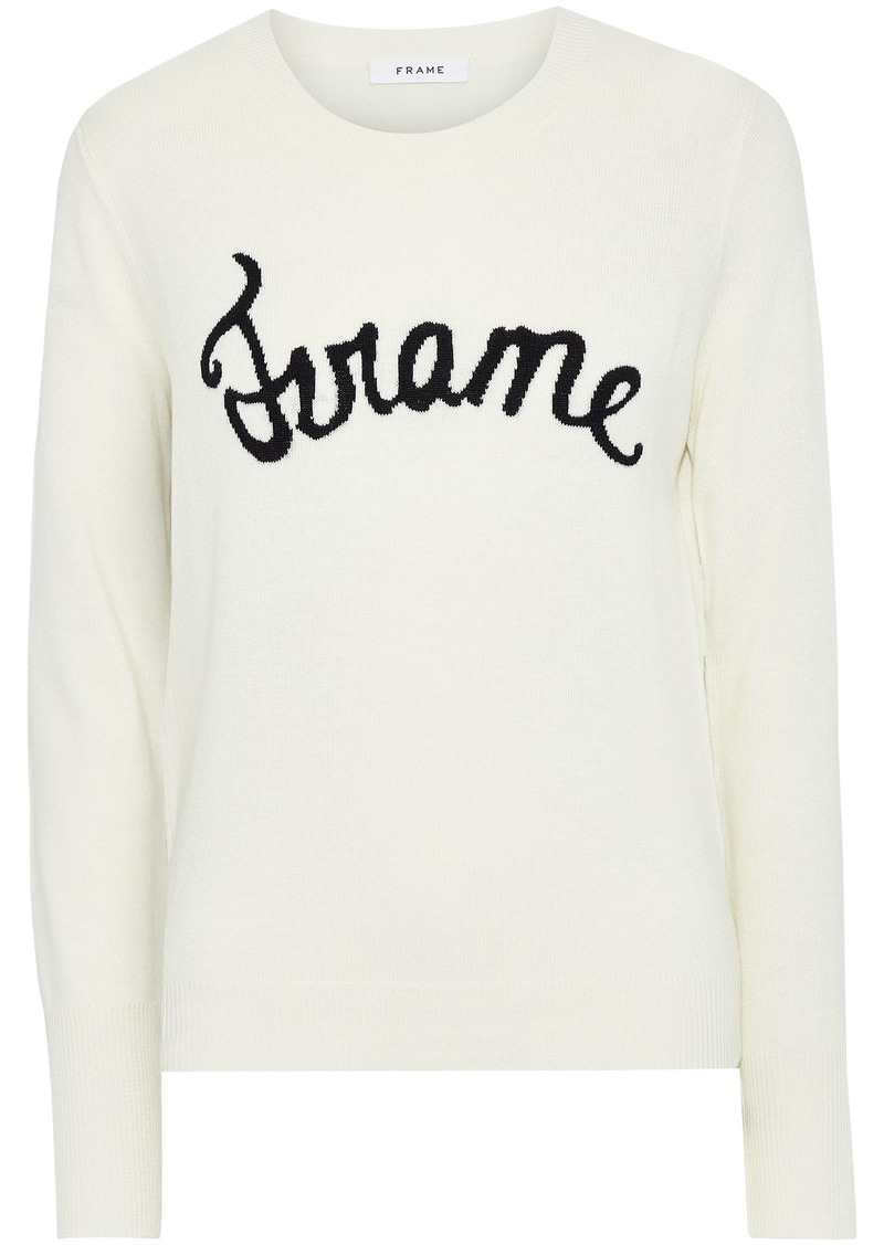 Frame Woman Intarsia Wool-blend Sweater Off-white