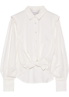 Frame Woman Knotted Denim Shirt White