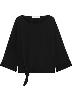 Frame Woman Knotted French Cotton-terry Sweatshirt Black